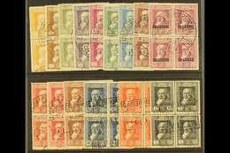 1930  Goya Postage Set To 1p Plus Express, Edifil 499/512 Plus 516, As Fine Used Blocks Of Four With Exhibition Cancels. - Spain