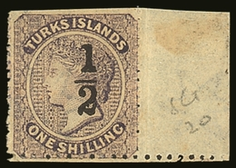 """1881  """"½"""" On 1s Lilac, Setting 10, Type 10, SG 20 Fine Marginal Mint (scissor Trimmed At Top). BPA Cert. For More Images - Turks And Caicos"""