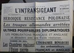 L'Intransigeant 3 Septembre 19399 - Journaux - Quotidiens