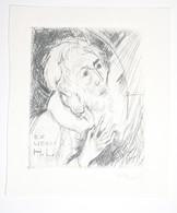 Ex-libris Moderne XXème Illustré -  Allemagne - Vieillard - Monogrammé HL (Hans Liesel LAUT ?) - Gravé Par R. Koch - Bookplates
