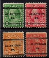 """USA Precancel Vorausentwertung Preo, Locals """"ALLENTON"""" (PA). 4 Différents. - Stati Uniti"""