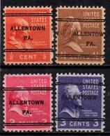 """USA Precancel Vorausentwertung Preo, Locals """"ALLENTON"""" PA). 4 Différents. - Stati Uniti"""