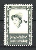 Reklamemarke Jungvaterland, Österreich`s Zukunft, Mädchen Mit Hut - Vignetten (Erinnophilie)
