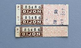3 Billets Papier Cie DesTramways Electriques De Dijon Coll Schnabel - Tram