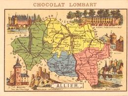CHROMO DEPARTEMENT DE L ALLIER PUB CHOCOLAT LOMBART AU VERSO - Chromos