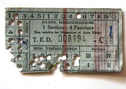 Carte Hebdomadaire Cie DesTramways Electriques De Dijon Coll Schnabel - Season Ticket