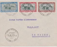 EGYPTE 1927 LETTRE DU CAIRE  OBLITERATION  CONGRES INTERNATIONAL DU COTON - 1915-1921 Protectorat Britannique