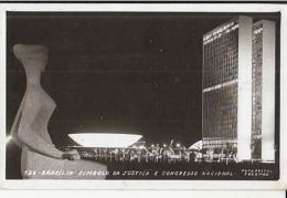 CPA RIO DE JANEIRO- JUSTICE MONUMENT, NATIONAL CONGRESS BUILDING BY NIGHT - Rio De Janeiro