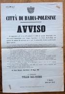 BADIA POLESINE 29/5/1868 MANIFESTO  SINDACO TULLIO DAL FIUME Suh APERTURA DEL PONTE BADIA - MASI Tip.Pier Maria Zanchi - Posters