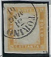 Italie, Sardaigne, N° 14 A Oblitéré Jaune Bistre, Signé - Sardinia