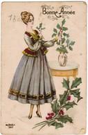 Happy New Year, Gelukkig Nieuwjaar, Lady With Holly, Dame Met Hulst (pk44423) - Nouvel An