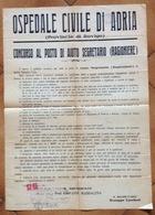 OSPEDALE CIVILE DI ADRIA  31/12/1946  MANIFESTO PER CONCORSO A SEGRETARIO IL PRESIDENTE PROF.GIOVANNI MADDALENA - Posters