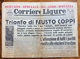 """CICLISMO CORRIERE LIGURE SERVIZIO SPECIALE GIRO D'ITALIA """"TRIONFO DI FAUSTO COPPI """"  10 GIUGNO 1949 - Manifesti"""