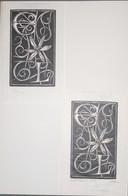 Lot De 2 Ex-libris Modernes XXème Illustrés -  Allemagne - Fleur Aux Initiales E L Gravure Signée Schmidt - Bookplates