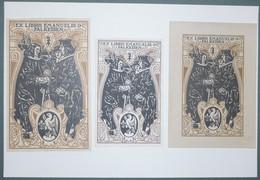 Lot De 3 Ex-libris Modernes XXème Illustrés -  Allemagne - EMANUELIS O. FALKEISEN - Ex Libris