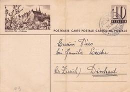 POSTAL STATIONERY. NEUCHATEL, CHATEAU. CIRCULEE TO ZURICH.-BLEUP - Interi Postali