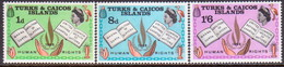 TURKS AND CAICOS ISLANDS 1968 SG #291-93 Compl.set MNH Human Rights Year - Turks And Caicos