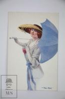Original Postcard Lady With Hat & Umbrella  - Court Barber - Ed.Carlton Publishing N 660 - The Flirt - Barber, Court