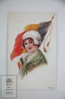 Original Ilustrated Postcard Belgium Women & Flag - Ed. Vivian Mansell Nº 1021 - Unkown Artist - Ilustradores & Fotógrafos