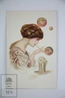 Original Postcard Women Making Bubbles  - Ed. Goldinni Nº 503 - Unkown Illustrator - Ilustradores & Fotógrafos