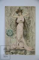 Original Postcard Young Lady Pink Dress At Pond  - Ed. A & MB 578 - Art Nouveau - Ilustradores & Fotógrafos