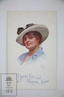 Original Postcard Lady White Hat  - Ed. Faulkner Series 162 - Dainty Lips & Roguish Eyes - Ilustradores & Fotógrafos