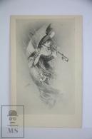Original Postcard Lady Holding Umbrella Against Rain - Illustrated P. Linder - Unknown Editor - Ilustradores & Fotógrafos