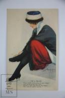 Original Postcard Young Lady Tying Skates - Illustrator Hamilton King - Ed. Henry Heininger N 47 - Dated 1918 - Ilustradores & Fotógrafos
