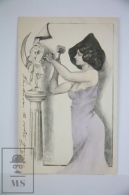 Original Postcard Lady Sculpting Moon - Illustrator Dam - Publisher Unknown - Early 20th Century - Ilustradores & Fotógrafos