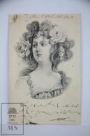 Original Postcard Portrait Of Young Lady Art Nouveau - Illustrator Bru ? - Shorthand Writing - Dated Year 1903 - Ilustradores & Fotógrafos