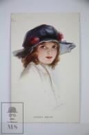 Original Postcard Older Girl With Hat  - Unkown Artist - Ed.Carlton Publishing N 736/2 - Father´s Darling - Ilustradores & Fotógrafos