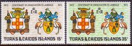 TURKS AND CAICOS ISLANDS 1973 SG #379-80 Compl.set MNH Annexation To Jamaica - Turks And Caicos