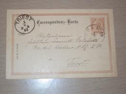 AUSTRIA STORIA POSTALE CARTOLINA INTERO POSTALE CON FERROVIARIO F.P.A.  NR. 10 PER TRIESTE - Wenen
