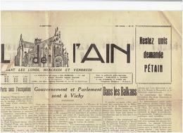 Le Journal De L'AIN Du 2 Juillet 1940 ( Parlement à VICHY) ,colonnes Allemandes , Restrictions Alimentaires .. - Newspapers