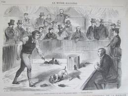 Gravure 1870   Combat De Chiens Ratiers  Et De Rats Exposition Canine   Champs élysées  Dogs  Hunde - Sin Clasificación