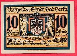 Allemagne 1 Notgeld 10 Pfenning Stadt Badberfa UNC Lot N °809 - [ 3] 1918-1933 : Weimar Republic