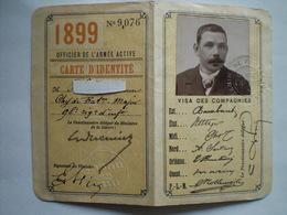 Carte D.identité  Donnant Droit Au Tarif Militaire Pour Un Officier 1899 2 Scans - Documents