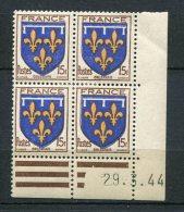 6614   FRANCE   N° 604*  15f Armoiries De L'Orléanais  Du  29/3/44   TB - Coins Datés