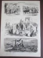 Gravure 1870  Egypte FETE DE  BETRAM Le Caire LE CAIRE   Cimetiere  Cimetery  Derviches Hurleurs  Cheik   Kourban Beiram - Vieux Papiers