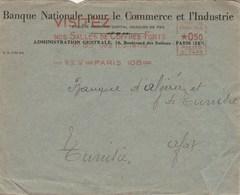 Lettre EMA Banque Nationale Commerce Industrie Flamme Visitez Nos Coffres Forts PARIS 108 16/9/1932 Pour Sfax - Marcophilie (Lettres)