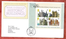FDC Mit Inhalt Beschreibung, Block Historische Bauten, Erstausgabestempel Edinburgh 1978 (50317) - 1971-1980 Dezimalausgaben