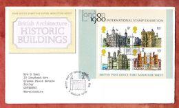 FDC Mit Inhalt Beschreibung, Block Historische Bauten, Erstausgabestempel London 1978 (50318) - 1971-1980 Dezimalausgaben