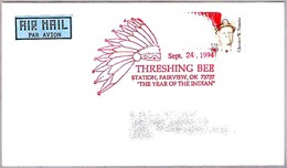 THRESHING BEE - THE YEAR OF THE INDIAN. Fairview OK 1994 - American Indians