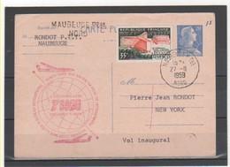 FRANCE 1959 1ere LIAISON PARIS NEW-YORK BOEING 707 - Poste Aérienne