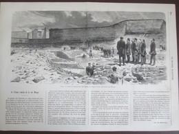 Gravure 1870  Paris 75005 Rue Monge    Visite De L Empereur   Aux Ruines   Du Cirque Romain Rue Monge - Vieux Papiers
