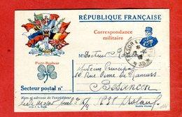 14 18 Carte Franchise Militaire 7 Drapeaux Allégorie Joffre Trèfle 1916 De Docteur Besançon Pour Aide-major SP 38 - Marcophilie (Lettres)