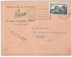 FRANCIA - France - 1957 - 18F Uzerche + Flamme Vous Partez En Vacances - Seul - Priam - Facture - Viaggiata Da Paris Per - Francia