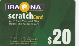 Iraq, Iraqna, $20 Scratch Card, 2 Scans . - Iraq