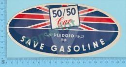 "Gas Ration WWII,Windshild Sticker "" 50/50 Car Pledged To Save Gasoline""  + Explanation - 1939-45"