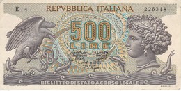 BILLETE DE ITALIA DE 500 LIRAS DEL AÑO 1967 -MEDUSA  (BANKNOTE) - 500 Lire